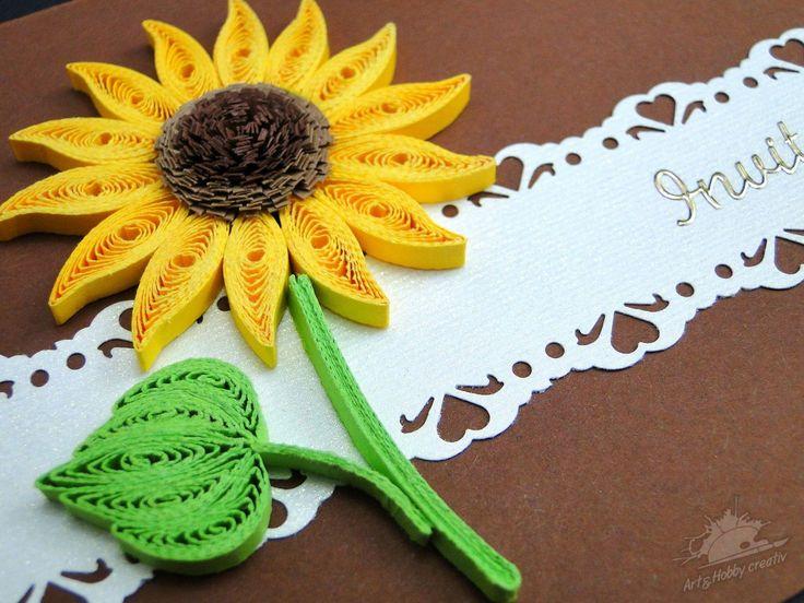 Felicitari quilling cu floarea soarelui 1