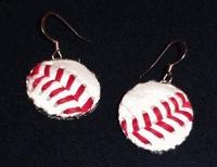 Baseball Stitches Earrings  (made from real leather baseballs)    -EverythingBaseballCatalog.com