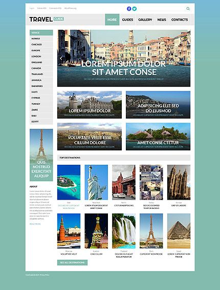Template 53260 - Travel Guide  Responsive WordPress  Theme