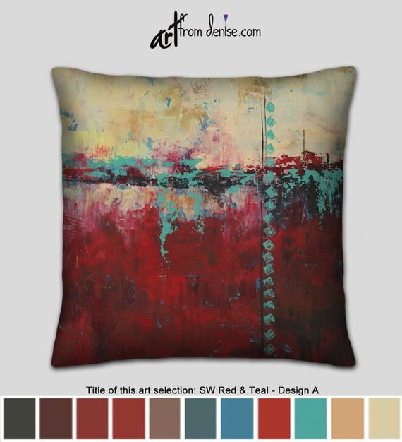 Southwest Pillow Abstract Teal And Red Throw Pillows For Couch