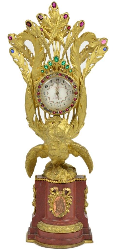 ANTIQUE H. HOUDEBINE FRENCH JEWELLED PEACOCK VANITY: Time Antiques Clocks, Peacocks Vanities, French Jewels, Houdebin French, Crafts Antiques Clocks, Peacocks Clocks Antiques, Jewels Peacocks, Ticking Tock, Clocks Old