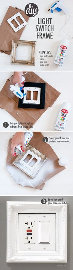DIY Light Switch Frame ~ using a light switch, picture frame, glue and spray paint #home