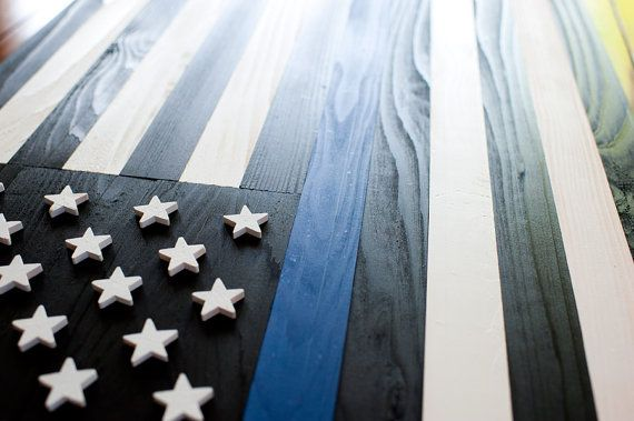 Thin Blue Line Wood Flag, Thin Blue Line Flag, US Flag, Police Flag, Wooden Flag, Wall Art, Stars and Stripes, Old Glory, Police, Blue line
