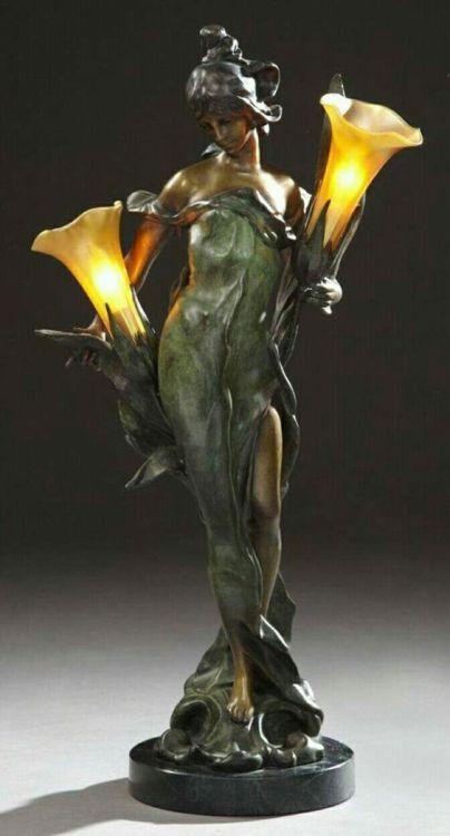 Pierre Roche (1855-1922), Art Nouveau Style Patinated Bronze Figural Lamp