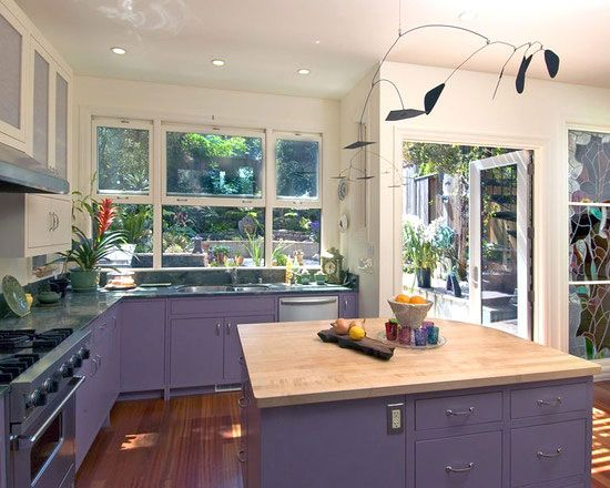 Cabinet Paint Colors: 7 Colorful Choices for the Kitchen - Purple Kitchen Cabinets