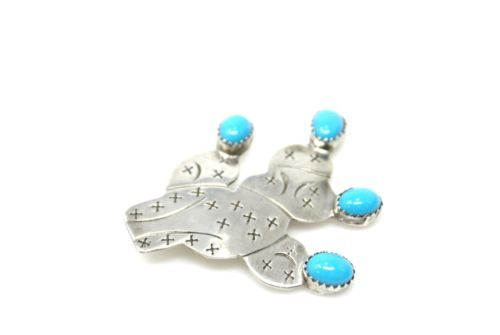 Annie-Chapo-925-Sterling-Silver-Navajo-Turquoise-Cactus-Brooch-4046B