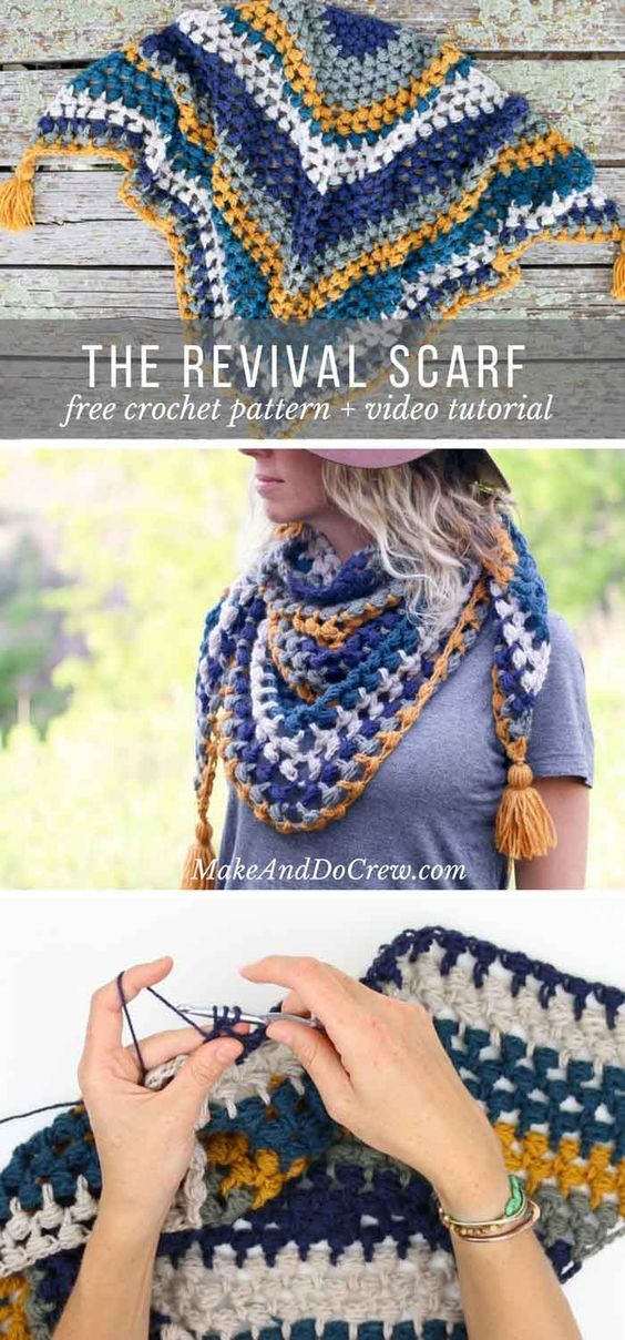 Worked in a vintage-inspired palette and full of texture, this triangle scarf with tassels is the perfect addition to your boho wardrobe. Free pattern + video tutorial! via @makeanddocrew