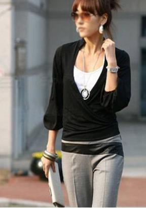 Damen V-Ausschnitt schwarz/weiß Longshirt mit Top Tunika aus DE