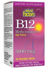 Natural Factors                     Vitamin B12 Methylcobalamin 5000 Mgc 5000 MCG, 60.0 Each , Chewable Tablets