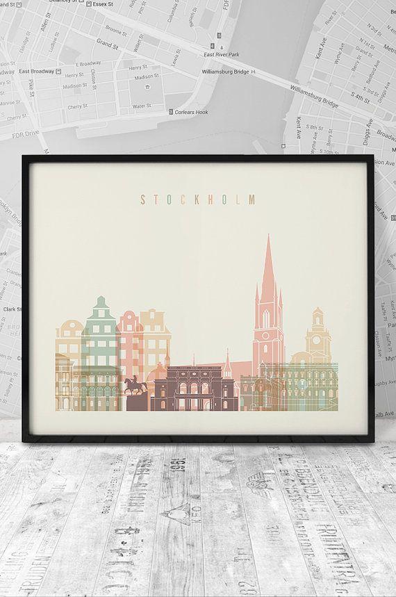 Stockholm print Stockholm printable Stockholm by ArtFilesVicky