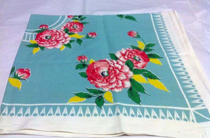 Blue medium size printed tablecloth