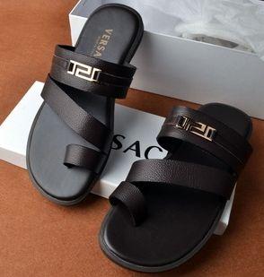 Genuina zapatillas de cuero para hombre pisos punta abierta tendencia hombre zapatos casual envío gratis