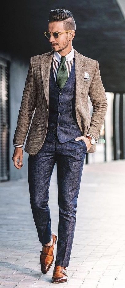 @whatmyboyfriendwore – with a navy waistcoat navy trousers green striped club collar shirt brown blazer silk pocket square sunglasses brown double monk shoes brown leather watch. #doublemonks #menswear #gentlemen #classy #menstyle #mensfashion #waistcoat #blazer #dapper