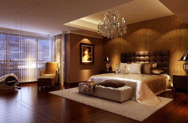 Beautiful gold bedroom.