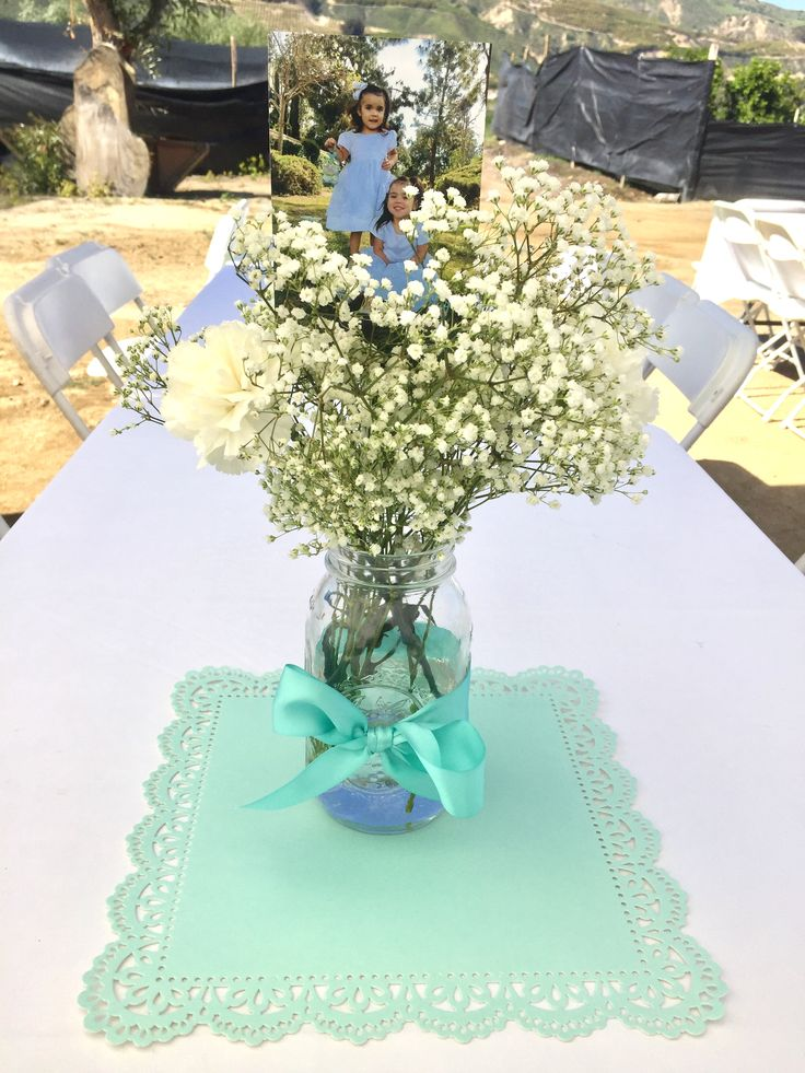Simple baptism centerpieces or for any occasion mason