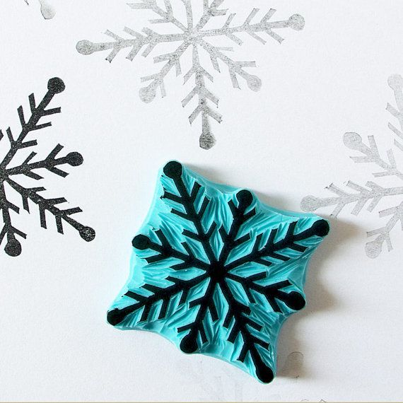 Snowflake stamp  hand carved rubber stamp  by CassaStamps on Etsy, $15.00