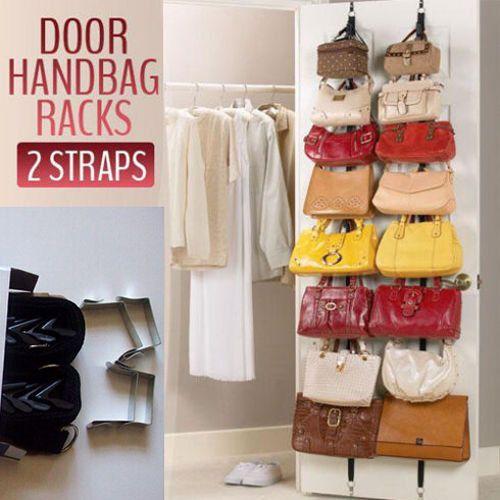 Over Door Overdoor Garment Bag Hanger Strap Rack Organizer Hanging Purse 2pc