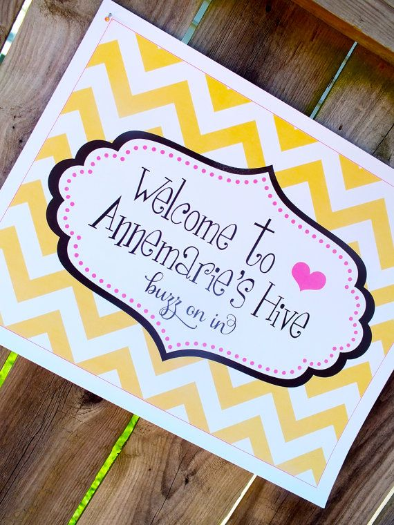 Bumble Bee Party Printable Welcome Sign By Pompdesigns On Etsy 650