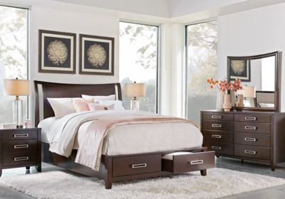 Bellissimo Java 7 Pc Queen Sleigh Bedroom with Storage.1499.0.  Find affordable Queen Bedroom Sets for your home that will complement the rest of your furniture. #iSofa #roomstogo