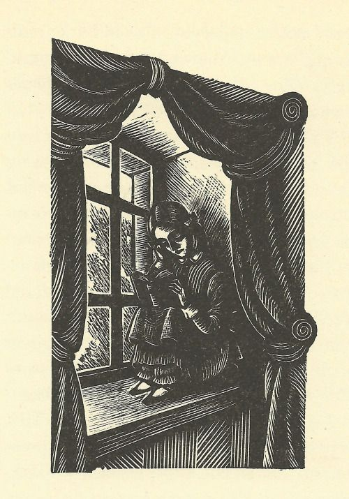Jane Eyre reading in a window seat. Woodcut by Fritz Eichenberg from 1943 edition of Jane Eyre.