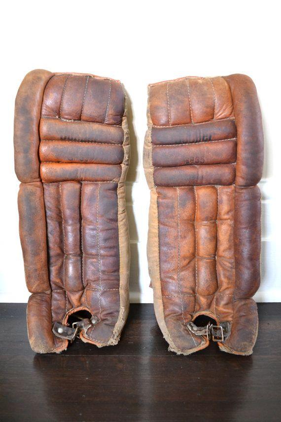 Hockey Goalie Pads  Vintage Hockey by GreySquirrelAntiques on Etsy, $145.00
