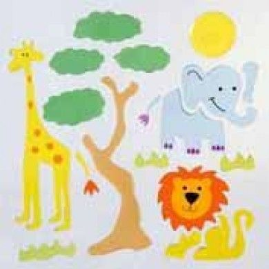 These cute safari animal gelgems with brighten the windows of a jungle themed room with the cute jungle animals.