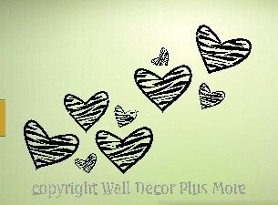 Wouldn't these look cute?? Zebra Print HEART Wall Vinyl Sticker Decal 10 by walldecorplusmore, $14.25