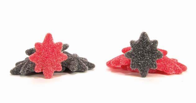 Estrellas de Regaliz Ácidas, de Burmar Sweets: Estrellas con sabor a puro regaliz negro y regaliz de fresa, con ácido pica-pica.