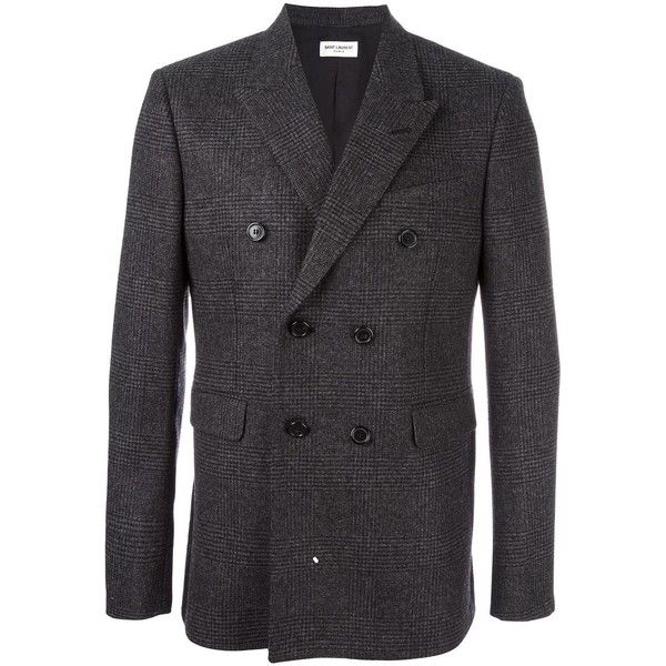 Saint Laurent 'Iconic Le Smoking' 70's jacket ($2,420) ❤ liked on Polyvore featuring men's fashion, men's clothing, men's outerwear, men's jackets, grey, mens double breasted jacket and mens grey jacket