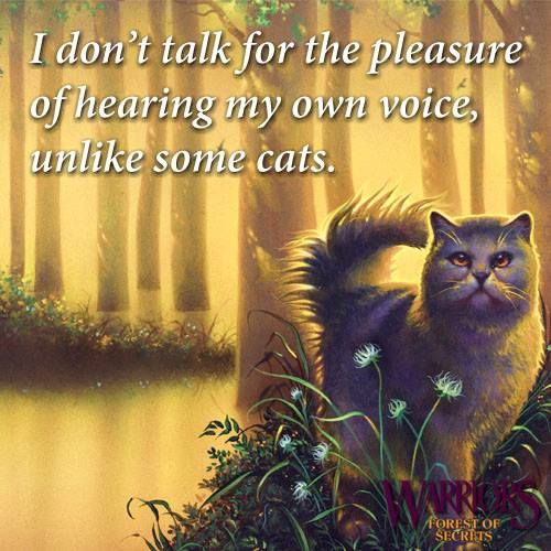 I don't talk for the pleasure of hearing my own voice, unlike some cats. A quote from Yellowfang in Warriors #3: Forest of Secrets.