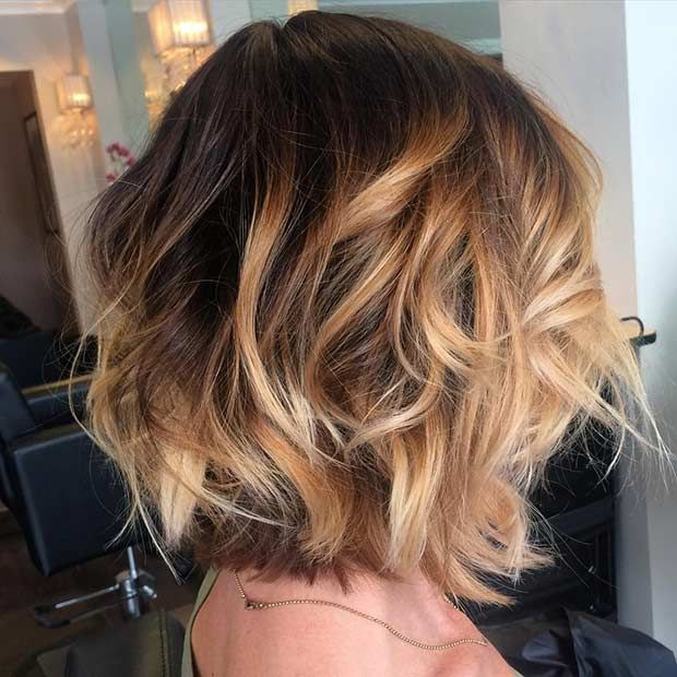 Layered Bob Haircut + Golden Caramel Highlights