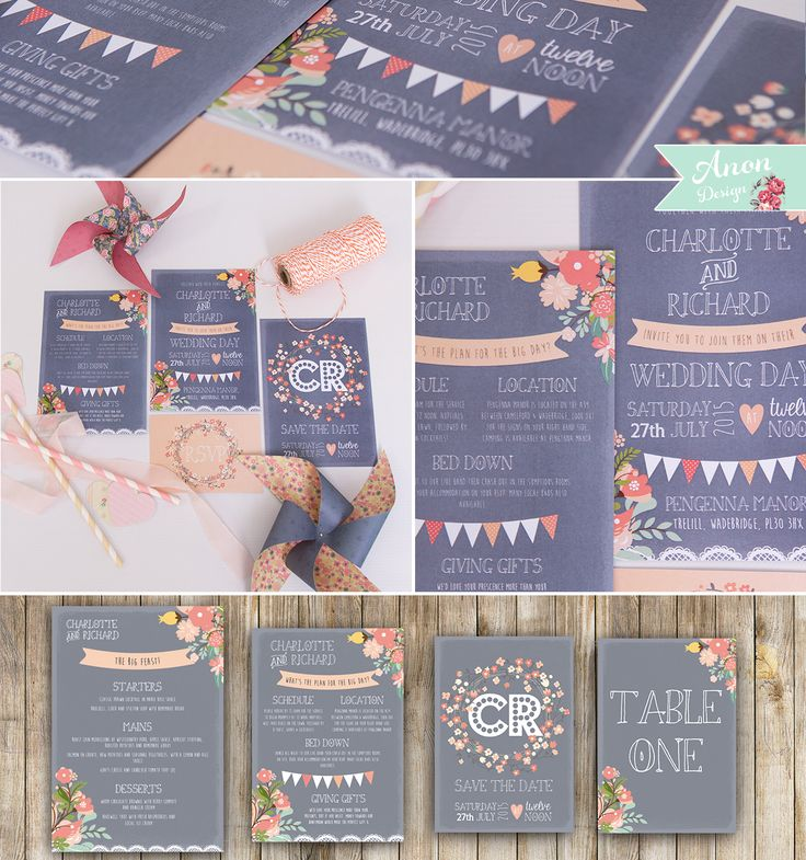 Grey And Coral Pink Vintage Wedding Invites. A Lovely Vintage Floral Style  Invite Incorporating Elements