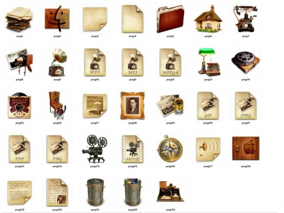 This unique antique icon pack comes in two different formats (ICO and PNG) #icon #set #free