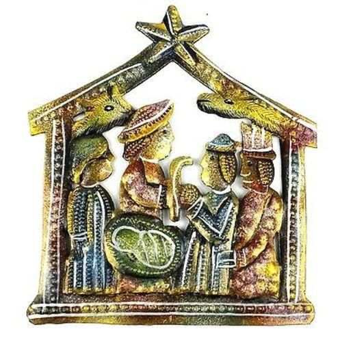 Small Painted Recycled Steel Drum Nativity Scene - Croix des Bouquets (H)