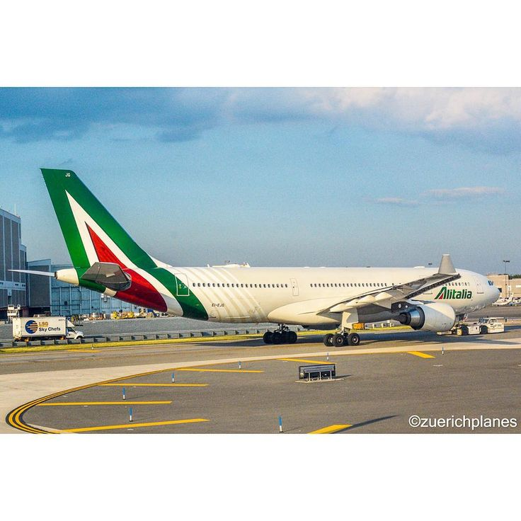 Alitalia A330 being towed at JFK