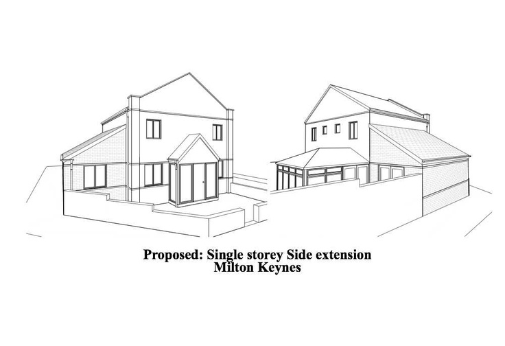 Single storey side house extension plans in Milton Keynes. Creating a large family dining room.
