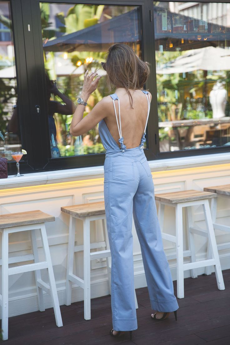 blue jumpsuit looks - Lady Addict. Blue backless jumpsuit+black heeled sandals. Summer Dressy Casual Outfit 2017