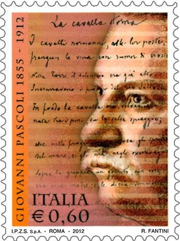 """Il francobollo celebrativo dedicato a Giovanni Pascoli è stato emesso il 6 aprile 2012, in occasione del centenario della scomparsa. L'immagine raffigura un ritratto del poeta sul quale si sovrappongono alcuni versi della poesia """"La cavalla storna"""", tratti dalla bozza originale."""