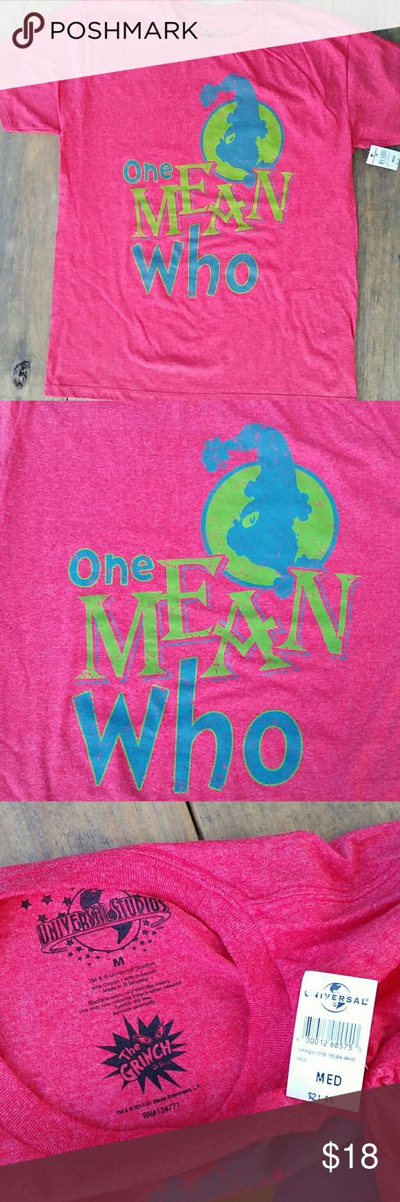 "The Grinch 'One Mean Who' Red Christmas T-Shirt This shirt is brand new with tag from Seuss Landing at Universal Orlando's Islands of Adventure. It is a heathered red color with ""One Mean Who"" and a picture of the Grinch from Dr. Suess' How the Grinch Stole Christmas in 2 different shades of green. I an not sure, but I believe it is a unisex shirt. It is about 27 inches long and about 20 inches across from armpit to armpit. The shirt is 60% Cotton and 40% Polyester. The brand is Universal…"