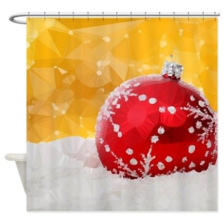 Red Christmas Ornament On Snow Shower Curtain