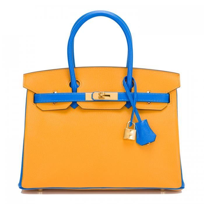 349998c1d200 Hermes Birkin Bag 30cm HSS Bi-Color Jaune D Or and Blue Hydra Chevre Mysore  Gold Hardware  28
