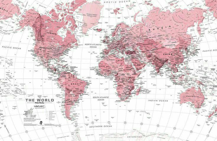핑크색 세계   Mapa mural del mundo, Fondo de pantalla del ...