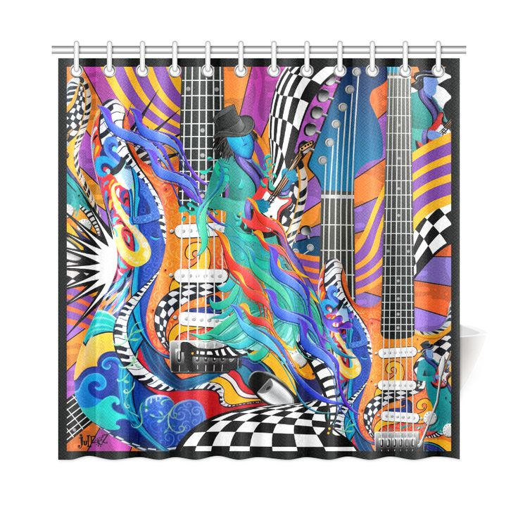 "Best Music Decor Colorful Shower Curtain by Juleez Shower Curtain 72""x72"".Best Music Gift! Colorful Guitar Music Art. I love Music Art Colorful Guitar Musician Art by Juleez"