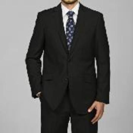 SKU#DF7116 Men's Slim Fit Black 2-button Suit $89 Mens Discount Suits By Style and Quality 2 Button Suits