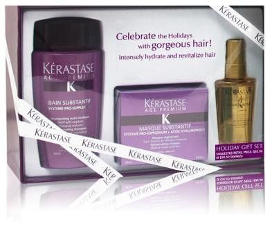 Kerastase Substantif Holiday Gift Set by Kerastase. $95.00. Encourages cellular renewal. For mature hair and scalp.. UV filters for protection. Intensely hydrates, rebalances scalp, repairs, nourishes. Bain Substantif 250ml Masque Substantif 200ml Travel-Size Elixir Ultime 50ml