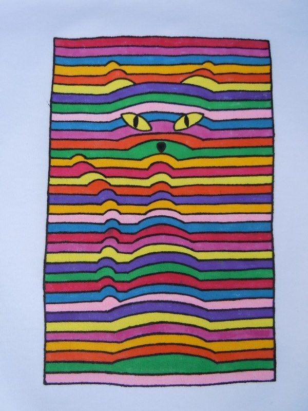 Op art line cat