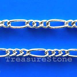 Chain,brass,rhodium-plated,2x6mm Figaro. TreasureStone Beads Edmonton