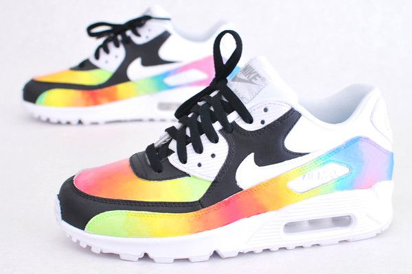 Custom Hand Painted 'Color Blast' Air Max 90 Running Shoe