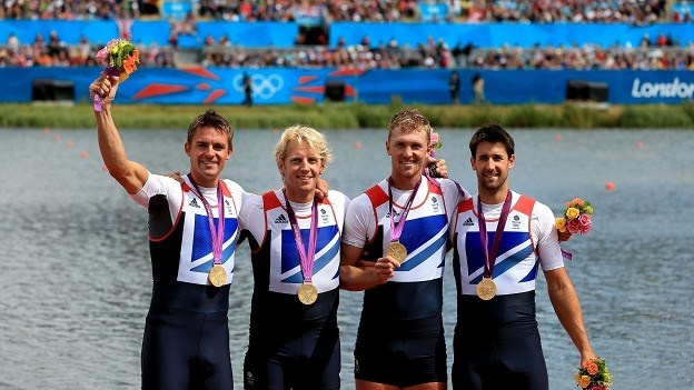 Andrew Triggs Hodge, Tom James, Pete Reed and Alex Gregory celebrate gold
