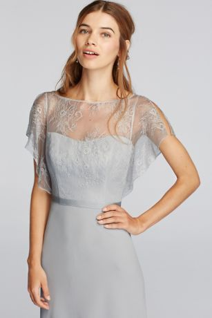 A delicate Chantilly lace flutter-sleeve bodice is paired with a floor-length chiffon skirt on this long bridesmaid dress. A thin ribbon accents the waistline.  Wonder by Jenny Packham- Exclusively at David's Bridal.  Cascading sleevesoffer soft and elegantcoverage.  Lace bodiceand keyhole back paired with ribbon at waist.  Floor length,sheer chiffon skirt.  Fully Lined. Zipper Back. Dry Clean Only. To protect your dress, our Non Woven Garment Bag is a must have!